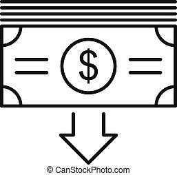 icône, argent, prendre, style, espèces, contour