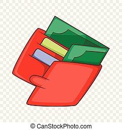icône, argent, style, dessin animé, portefeuille