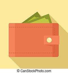 icône, argent, style, portefeuille, plat