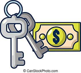 icône, argent, style, sûr, dessin animé