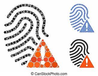 icône, articles, mal, empreinte doigt, spheric, mosaïque