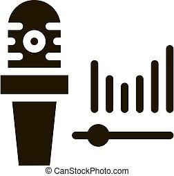 icône, audio, vagues, microphone, illustration