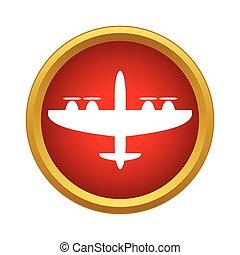 icône, avion militaire, style, simple
