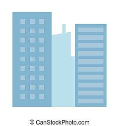 icône, bâtiments, scène urbaine, cityscape