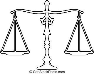 icône, balances, marteau, juge, justice