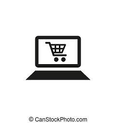 icône, blanc, arrière-plan., achats en ligne