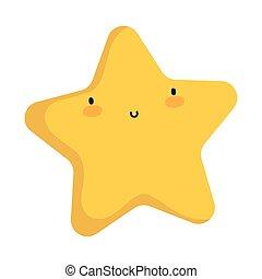icône, blanc, caractère, dessin animé, étoile, fond, kawaii