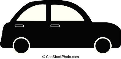 icône, blanc, logo., conception, app, ui., style., ton, simple, monochrome, voiture, site, plat, arrière-plan., toile, logo, signe.