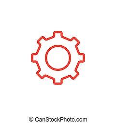 icône, blanc, plat, illustration, engrenage, arrière-plan., ligne rouge, vecteur, style