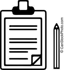 icône, blanc, presse-papiers, isolé, fond