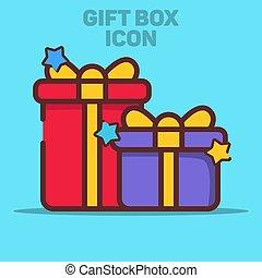 icône, bleu, vecteur, illustration, boîte-cadeau, fond, isolé