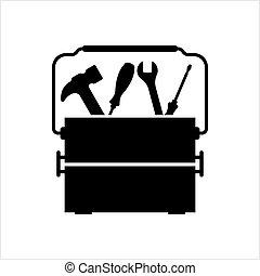 icône, boîte, boîte outils, outillage, icône