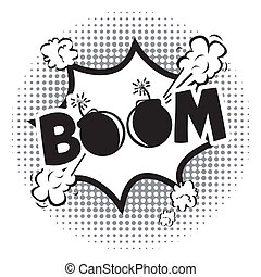 icône, boom, comiques