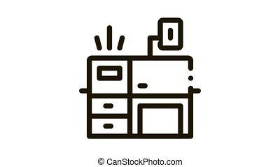 icône, bureau, animation, lieu travail