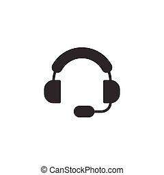 icône, business, blanc, isolé, arrière-plan., style., concept., helpdesk, casque, illustration, bavarder, opérateur, plat, vecteur