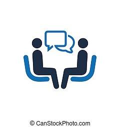 icône, business, conversation