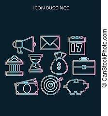 icône, business, ensemble, moderne, fond, populaire, noir