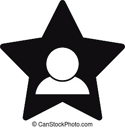 icône, célébrité, simple, étoile, avatar, style