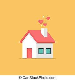 icône, cœurs, maison