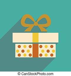 icône, cadeau, ombre, boîte, long, plat