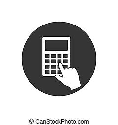 icône, calculatrice, blanc, arrière-plan., gris, vecteur