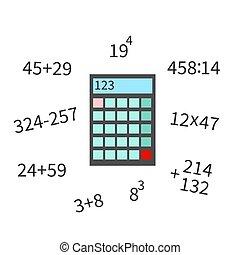 icône, calculatrice, numerator, illustration, plat, exemple, blanc, vecteur, math, bakground.