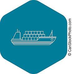 icône, cargaison, style, contour, bateau