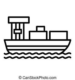 icône, cargo, style, contour