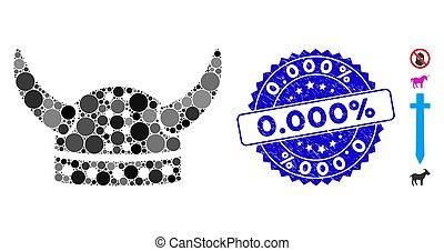 icône, casque, cornu, 0.000%, textured, cachet, mosaïque