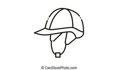 icône, casque, jockey, animation