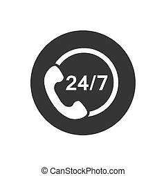 icône, centre, moderne, appeler, style, 24, soutien, plat, 7, vecteur
