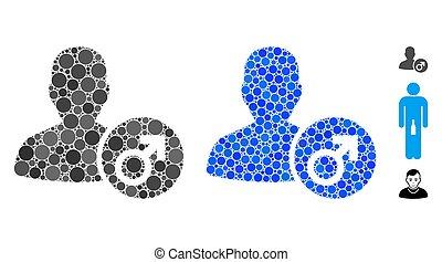 icône, cercle, points, mâle, mosaïque