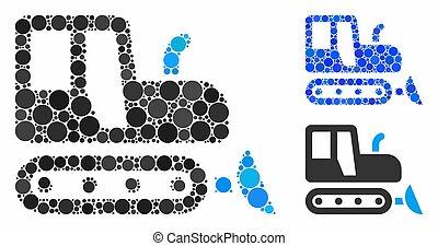 icône, cercles, composition, bulldozer