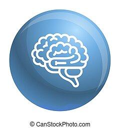 icône, cerveau, style, contour
