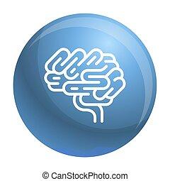 icône, cerveau, style, contour, orgue