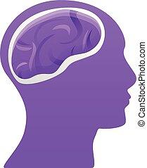 icône, cerveau, tête, style, dessin animé