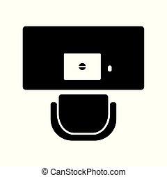 icône, chaise, cahier, bureau bureau