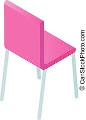 icône, chaise, isométrique, style, rose