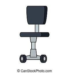 icône, chaise, roues, isolé, bureau