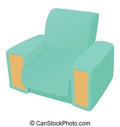 icône, chaise, style, dessin animé, bras