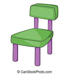 icône, chaise, style, dessin animé, enfants