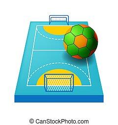 icône, champ, isolé, cours, handball, intérieur, ou, cour de récréation
