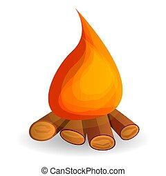 icône, chaud, feu camp, style, dessin animé