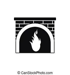 icône, cheminée, style, noir, simple