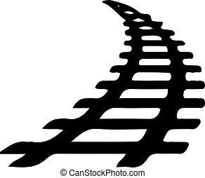 icône, chemin fer, fond, blanc