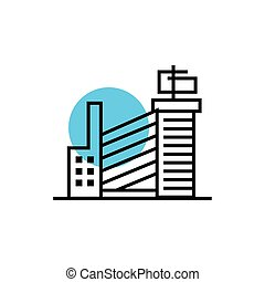 icône, cityscape, style, scène, bâtiments, ligne