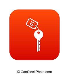 icône, clef hôtel, rouges, numérique