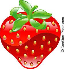 icône, clipaart, fraise