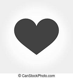 icône, coeur, noir