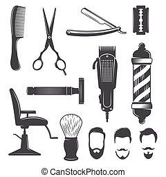 icône, coiffeur, ensemble